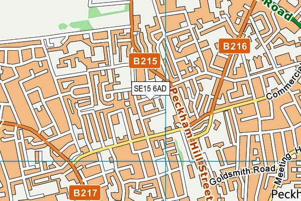 SE15 6AD map - OS VectorMap District (Ordnance Survey)