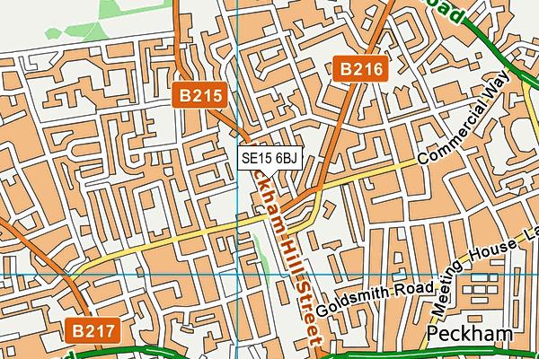 SE15 6BJ map - OS VectorMap District (Ordnance Survey)
