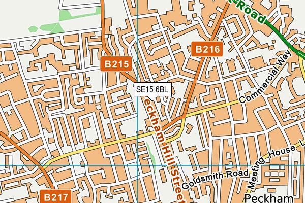 SE15 6BL map - OS VectorMap District (Ordnance Survey)