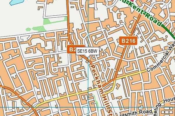 SE15 6BW map - OS VectorMap District (Ordnance Survey)