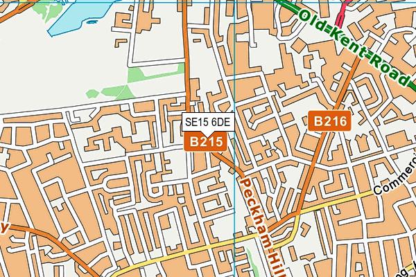 SE15 6DE map - OS VectorMap District (Ordnance Survey)