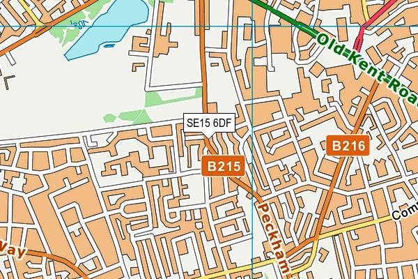 SE15 6DF map - OS VectorMap District (Ordnance Survey)