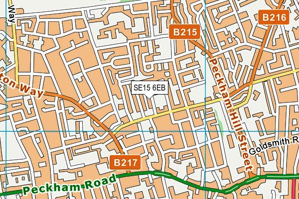SE15 6EB map - OS VectorMap District (Ordnance Survey)
