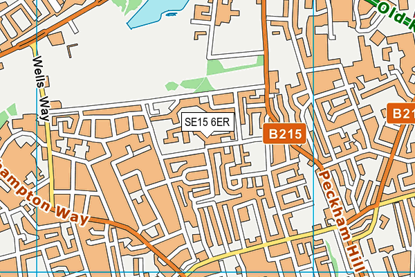 Tuke School map (SE15 6ER) - OS VectorMap District (Ordnance Survey)