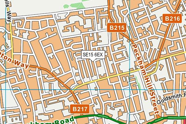 SE15 6EX map - OS VectorMap District (Ordnance Survey)