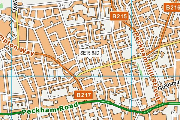 SE15 6JD map - OS VectorMap District (Ordnance Survey)