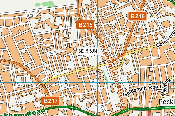 SE15 6JN map - OS VectorMap District (Ordnance Survey)