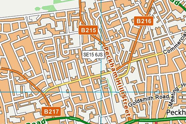 SE15 6JS map - OS VectorMap District (Ordnance Survey)