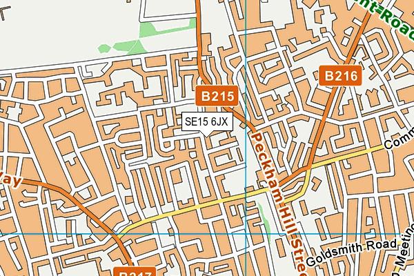 SE15 6JX map - OS VectorMap District (Ordnance Survey)