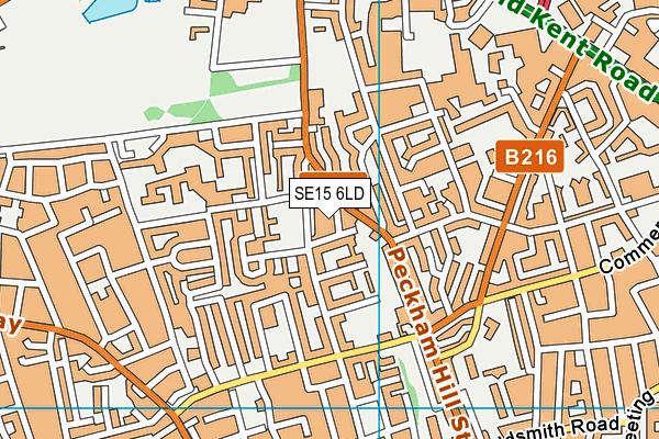 SE15 6LD map - OS VectorMap District (Ordnance Survey)