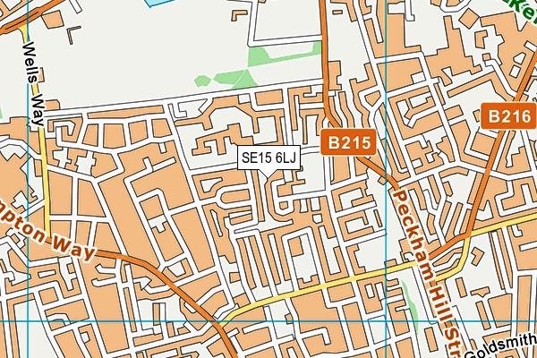 SE15 6LJ map - OS VectorMap District (Ordnance Survey)