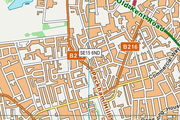 SE15 6ND map - OS VectorMap District (Ordnance Survey)