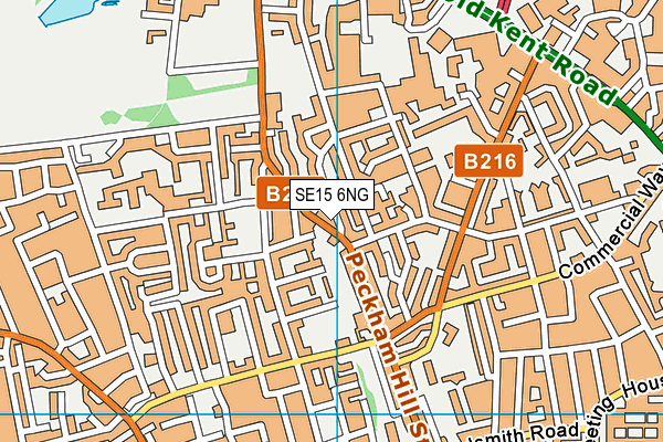 SE15 6NG map - OS VectorMap District (Ordnance Survey)