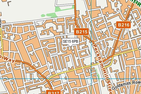 SE15 6PB map - OS VectorMap District (Ordnance Survey)