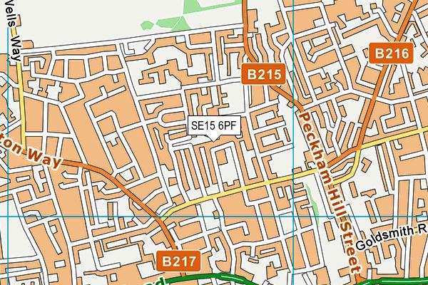 SE15 6PF map - OS VectorMap District (Ordnance Survey)