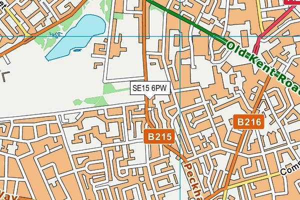 SE15 6PW map - OS VectorMap District (Ordnance Survey)