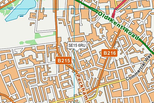 SE15 6RU map - OS VectorMap District (Ordnance Survey)