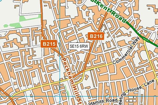 SE15 6RW map - OS VectorMap District (Ordnance Survey)