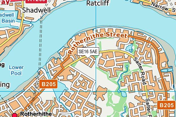 SE16 5AE map - OS VectorMap District (Ordnance Survey)