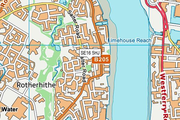 SE16 5HJ map - OS VectorMap District (Ordnance Survey)