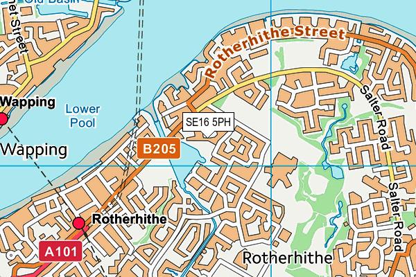 SE16 5PH map - OS VectorMap District (Ordnance Survey)