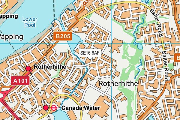 SE16 6AF map - OS VectorMap District (Ordnance Survey)