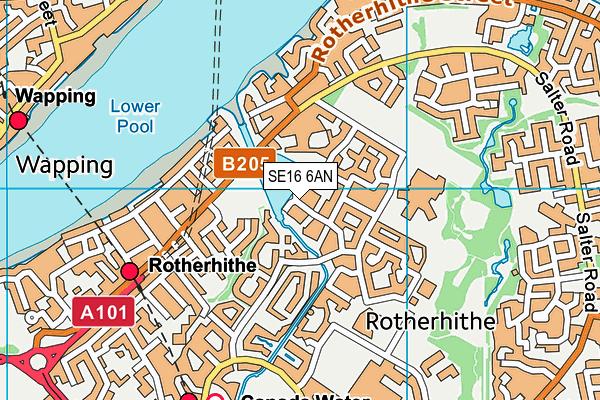 SE16 6AN map - OS VectorMap District (Ordnance Survey)