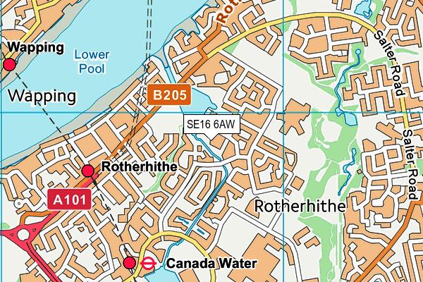 SE16 6AW map - OS VectorMap District (Ordnance Survey)