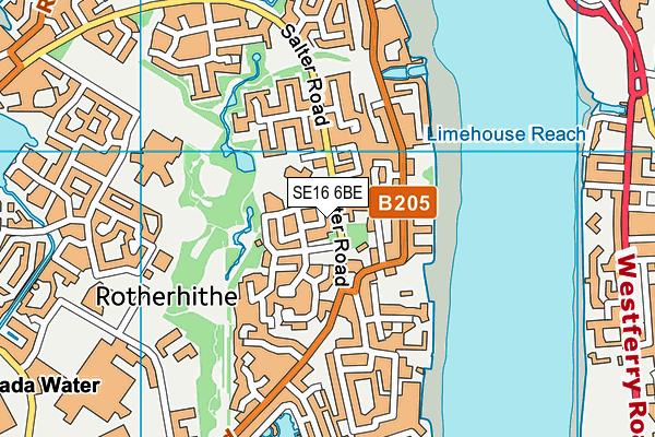 SE16 6BE map - OS VectorMap District (Ordnance Survey)