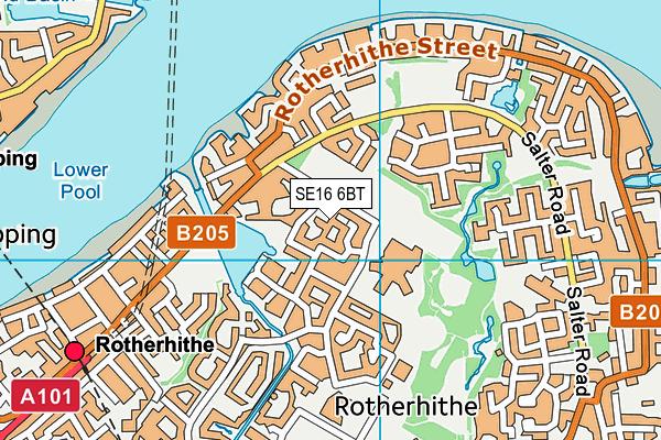 SE16 6BT map - OS VectorMap District (Ordnance Survey)