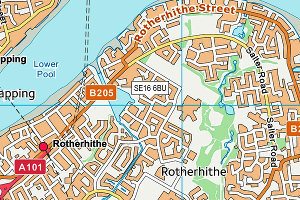 SE16 6BU map - OS VectorMap District (Ordnance Survey)
