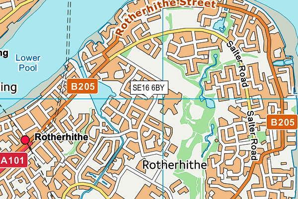 SE16 6BY map - OS VectorMap District (Ordnance Survey)