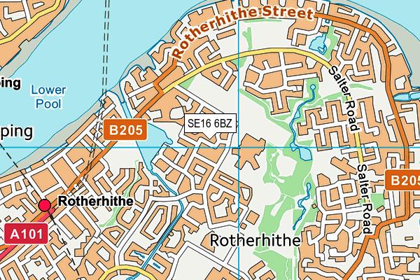 SE16 6BZ map - OS VectorMap District (Ordnance Survey)