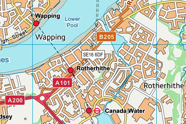 SE16 6DF map - OS VectorMap District (Ordnance Survey)