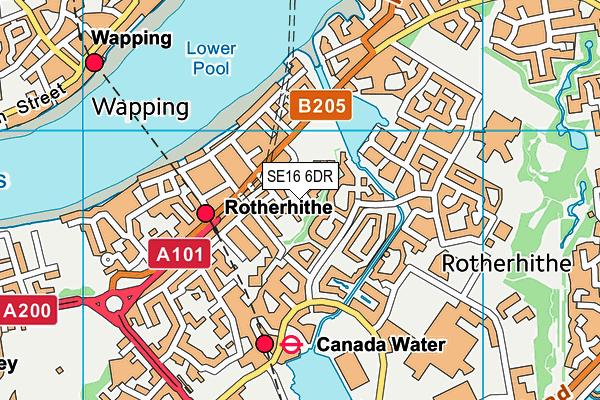 SE16 6DR map - OS VectorMap District (Ordnance Survey)