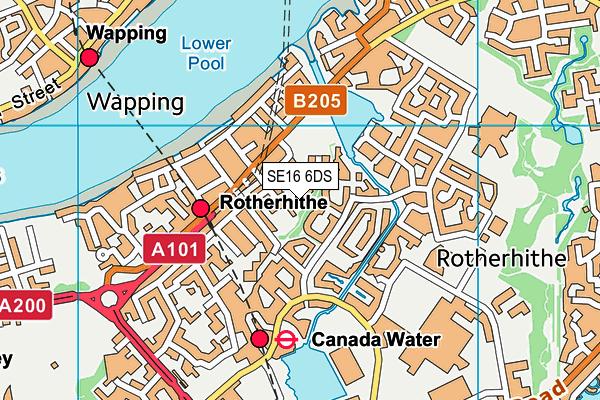 SE16 6DS map - OS VectorMap District (Ordnance Survey)