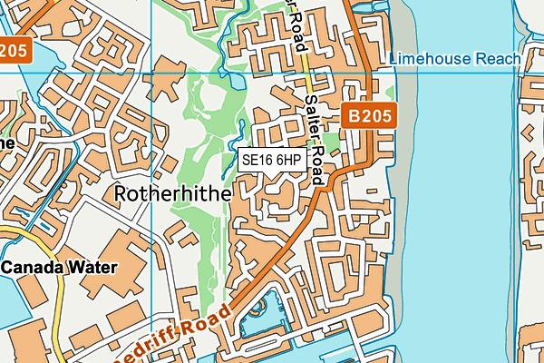 SE16 6HP map - OS VectorMap District (Ordnance Survey)
