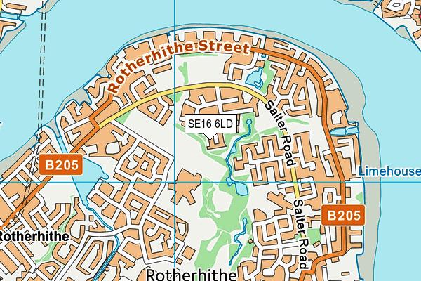 SE16 6LD map - OS VectorMap District (Ordnance Survey)