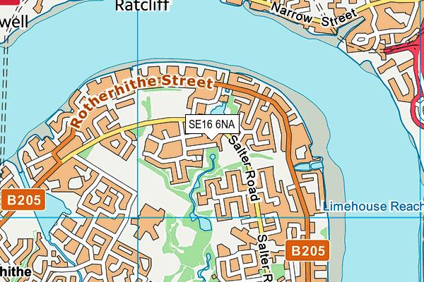 SE16 6NA map - OS VectorMap District (Ordnance Survey)