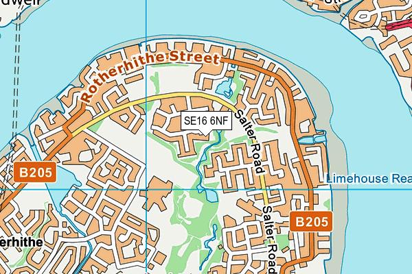 SE16 6NF map - OS VectorMap District (Ordnance Survey)