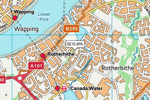 SE16 6PA map - OS VectorMap District (Ordnance Survey)