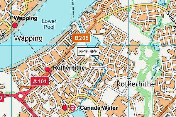 SE16 6PE map - OS VectorMap District (Ordnance Survey)