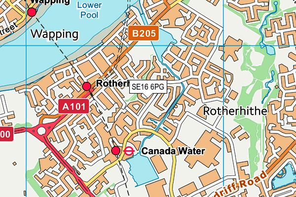 SE16 6PG map - OS VectorMap District (Ordnance Survey)