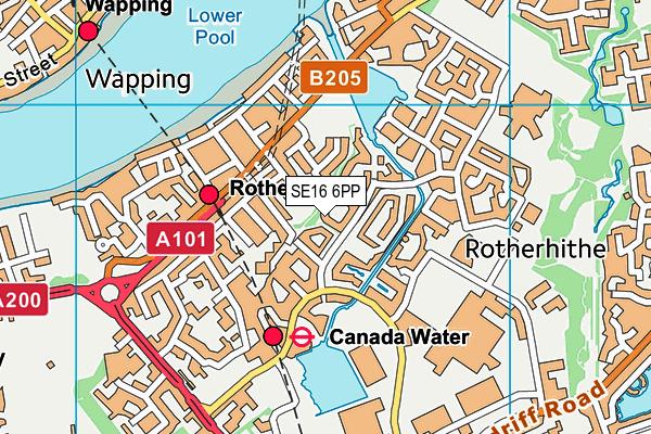 SE16 6PP map - OS VectorMap District (Ordnance Survey)