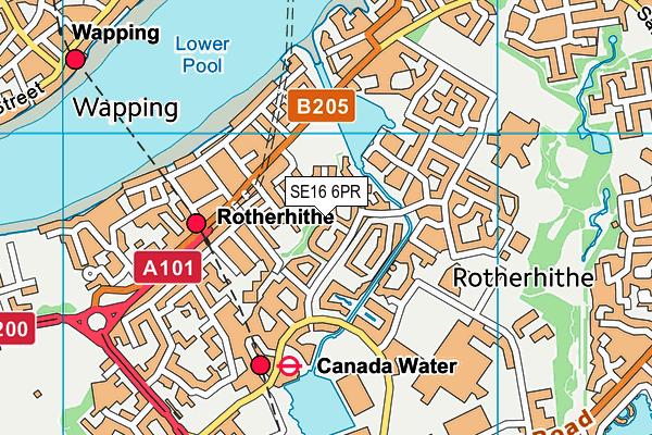 SE16 6PR map - OS VectorMap District (Ordnance Survey)