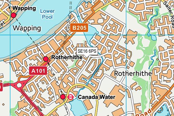SE16 6PS map - OS VectorMap District (Ordnance Survey)