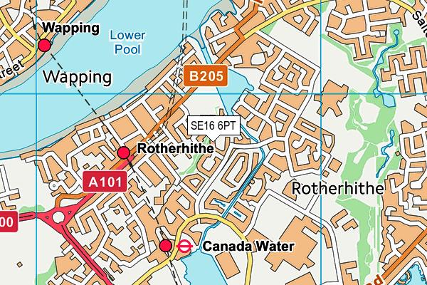 SE16 6PT map - OS VectorMap District (Ordnance Survey)