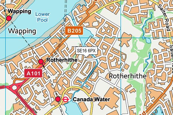 SE16 6PX map - OS VectorMap District (Ordnance Survey)