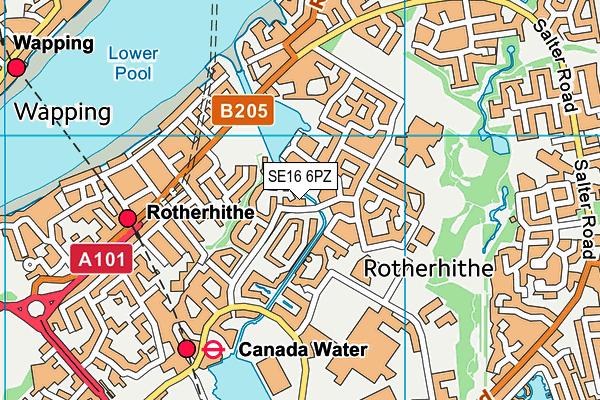 SE16 6PZ map - OS VectorMap District (Ordnance Survey)