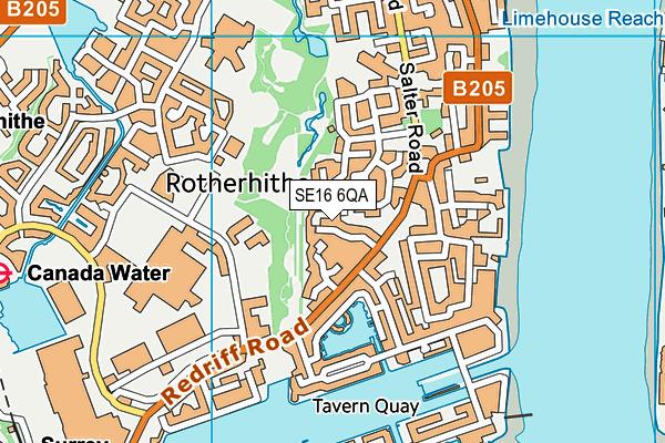 SE16 6QA map - OS VectorMap District (Ordnance Survey)